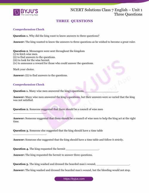 small resolution of NCERT Solutions for Class 7 English Unit 1 Three Questions- Download  Solutions