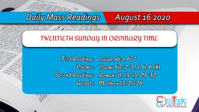 Catholic Sunday Daily Mass Readings 16th August 2020