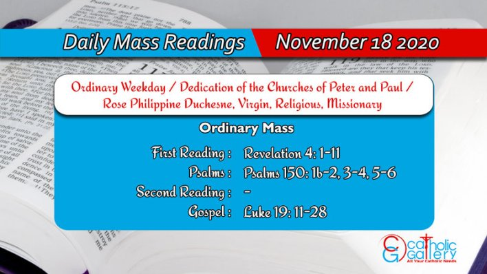 Catholic Online Daily Mass Readings 18th November 2020, Catholic Online Daily Mass Readings 18th November 2020