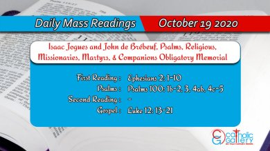 Catholic Daily Mass Readings 19th October 2020 Today Monday