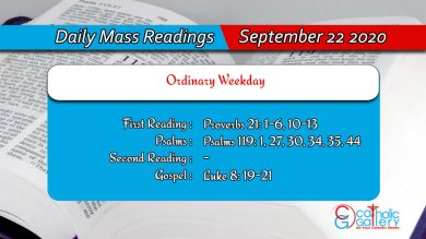 Catholic Daily Mass Readings Tuesday 22nd September 2020