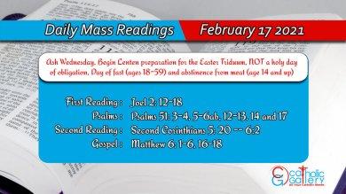Catholic Daily Mass Readings Online Ash Wednesday 17th February 2021