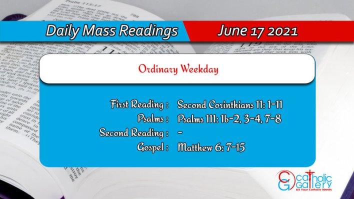 Catholic 17 June 2021 Daily Mass Readings for Thursday