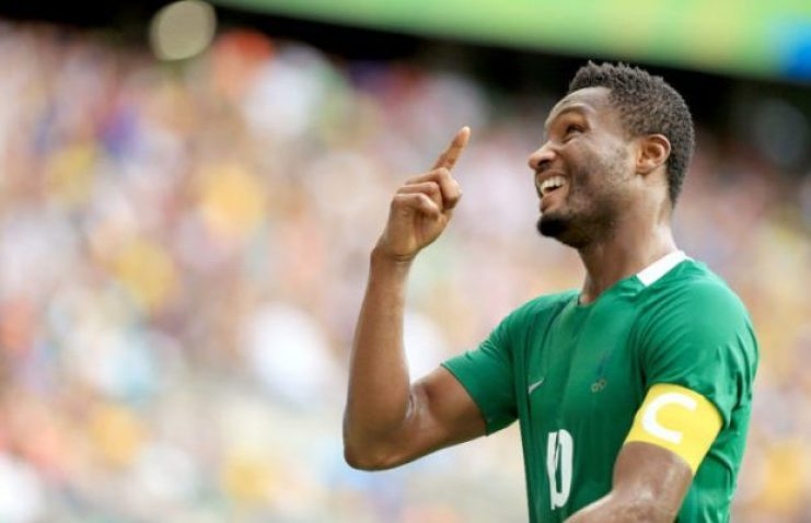 SALVADOR, BRAZIL - AUGUST 13: Mikel #10 of Nigeria celebrates is goal during the Men's Football Quarterfinal match at Arena Fonte Nova Stadium on Day 8 of the Rio 2016 Olympic Games on August 13, 2016 in Salvador, Brazil. (Photo by Felipe Oliveira/Getty Images)