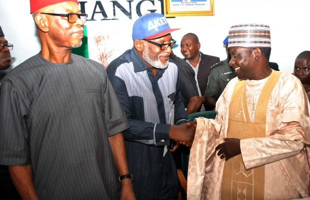 PIC 36. INAUGURATION OF APC NATIONAL CAMPAIGN COUNCIL FOR THE ONDO IN ABUJA Pic 36.  From left: APC National Chairman, Chief John Odigie-Oyegun; APC Gubernatorial Candidate for  Ondo State, Chief Rotimi Akeredolu and Governor of Plateau State/Chairman APC National Campaign Council for the Ondo State 2016 Governorship Election, Mr Simon Lalong, at the inauguration of 50-member Campaign in Abuja on Thursday (12/10/16). 7686/13/10/2016/Hogan-Bassey/ICE/NAN