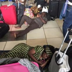 Image result for Arik passengers sleeping at Kaduna airport