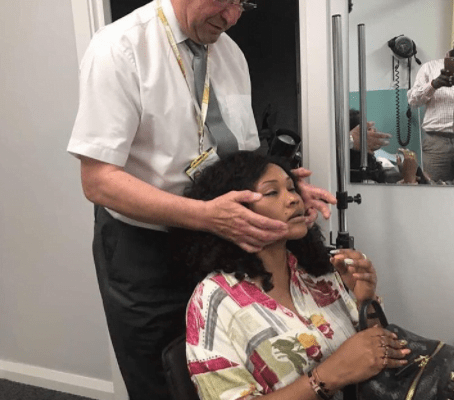 Mercy Aigbe visits face surgeon in UK