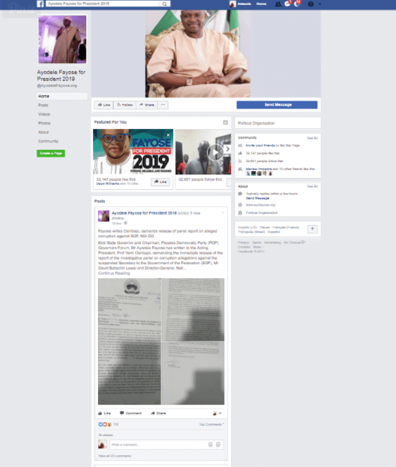 Fayose kicks off 2019 Presidental campaign on Facebook