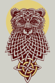 Ethno bear with celtic pattern. Handrawing illustration / photoshop.