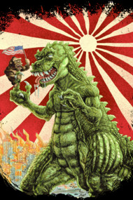 MINE'S BIGGER THAN YOURS Shirts. Started off as a parody of King Kong vs Godzilla. Thought I'd better stay away from something resembling too closely to Godzilla as he is protected big time by his lawyers. Anyway, Thought I'd go with a Mine is Bigger than Yours theme. Here we have America and Japan represented by their iconic monsters. America which is geographically a much larger country seems to be represented by a much smaller monster. On the other hand, The smaller country, Japan has a ridiculously enormous creature that seems to dwarf anything that the U.S. has to offer. So, what is really going on here?
