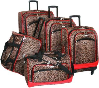 American Flyer Animal Print 5 Pc Spinner Luggage Set