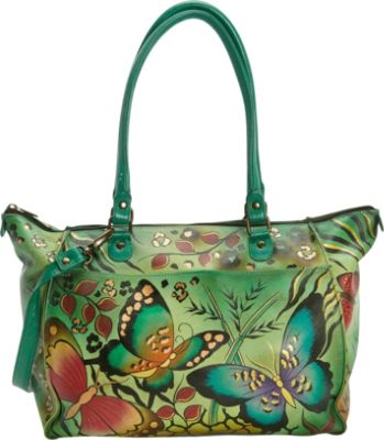 Anna Anuschka Hand Painted Large Tote 2 Colors Leather