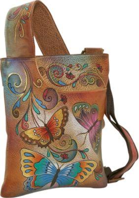 Anuschka Slim Cross Shoulder Bag-henna Butterfly