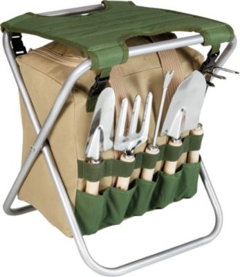picnic time folding chair steel base with wheels gardener tools ebags