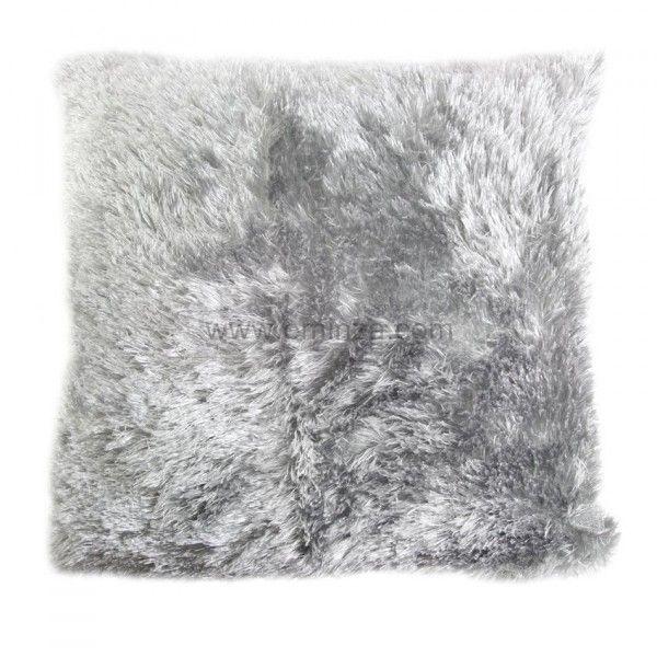 housse de coussin imitation fourrure gris