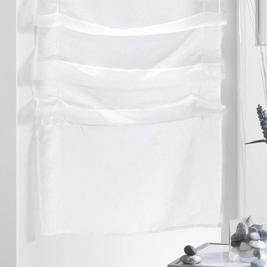 store voilage droit 45 x 180 cm lissea blanc
