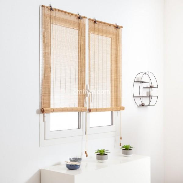 store enrouleur a baguettes 60 x 130 cm bambou naturel