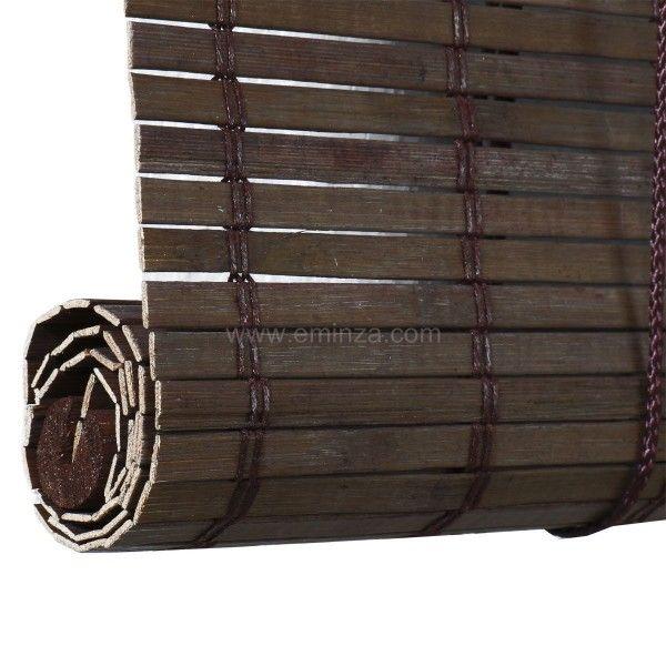 store enrouleur a baguettes 90 x 130 cm bambou chocolat