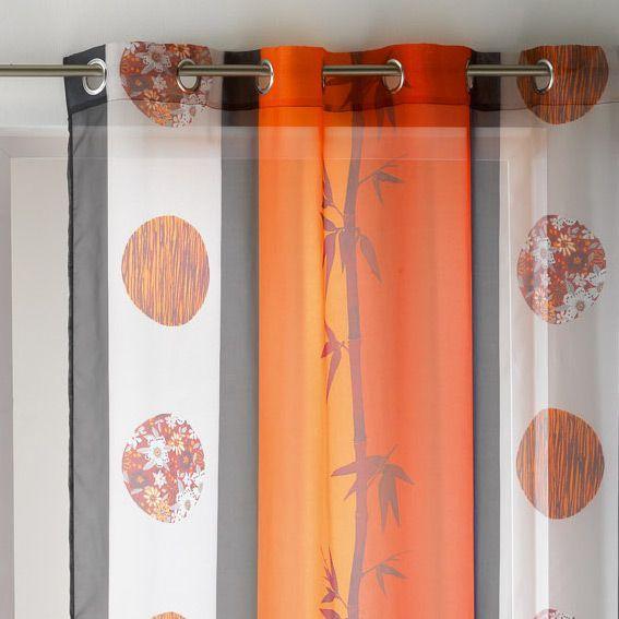 voilage 140 x h240 cm sanae orange