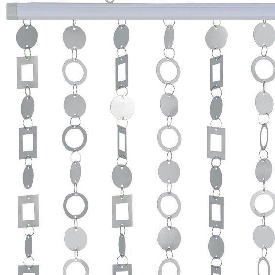 rideau de porte 90 x h220 cm anneaux argent