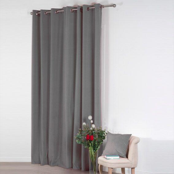 rideau 140 x h260 cm velours gris clair