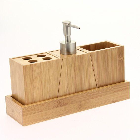kit d accessoires de salle de bain bois
