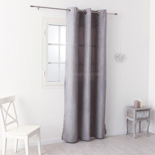 rideau tamisant 140 x h240 cm suedine gris clair