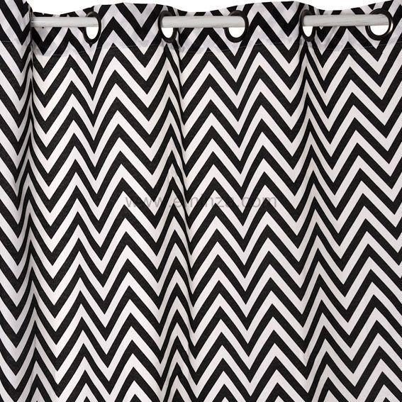 rideau 140 x h250 cm dozer blanc et noir