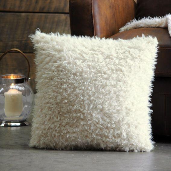 Housse de coussin fausse fourrure 40 cm Mouton Blanc  Coussin et housse de coussin  Eminza