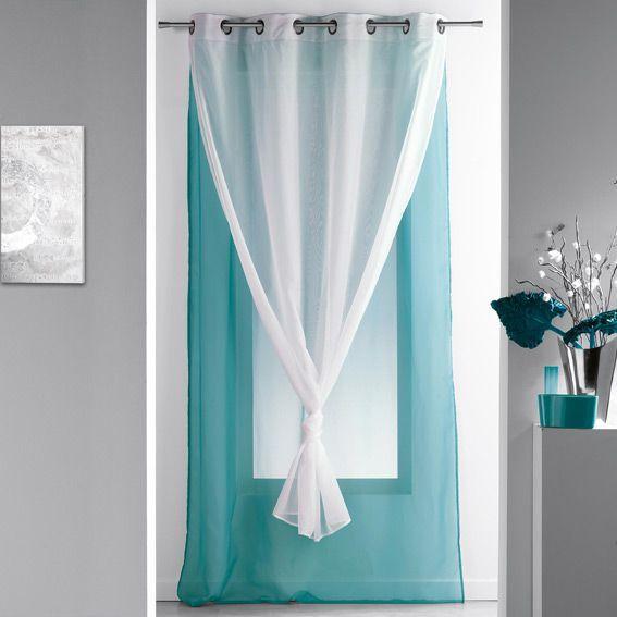 voilage 140 x h240 cm bicolore double bleu