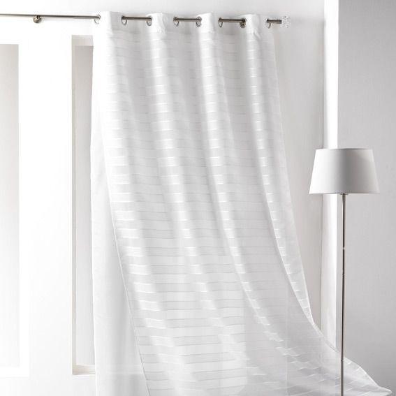 voilage 140 x h240 cm double amanda blanc