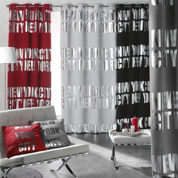 rideau occultant 140 x h260 cm ny silver rouge