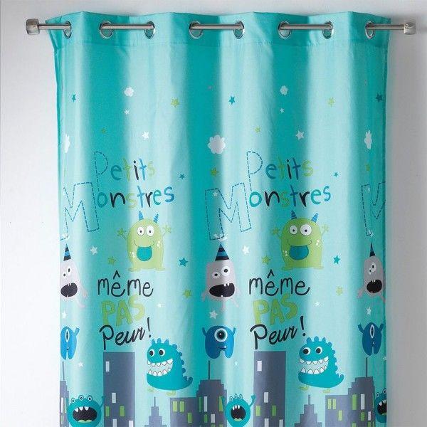 rideau tamisant 140 x h240 cm petits monstres bleu