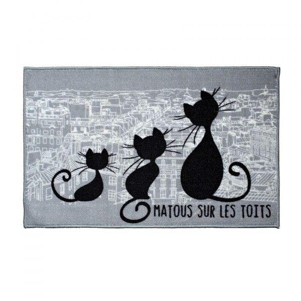 tapis de chambre 80 cm chat gris