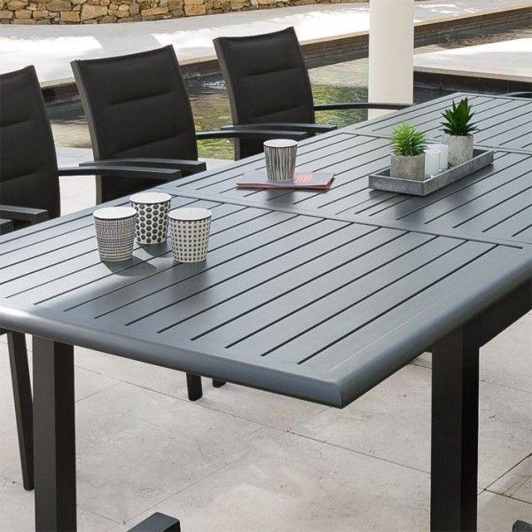 table de jardin extensible aluminium azua 240 x 100 cm graphite