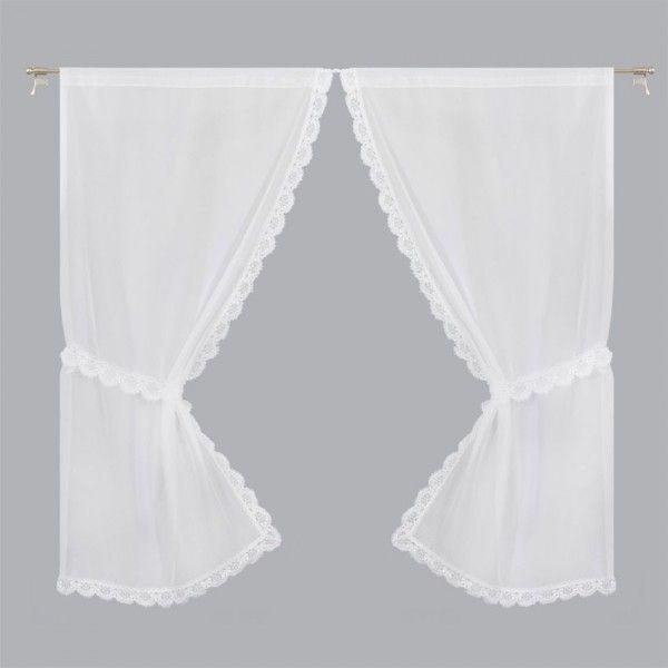 paire de voilages bonne femme 95 x 220 cm macrame blanc