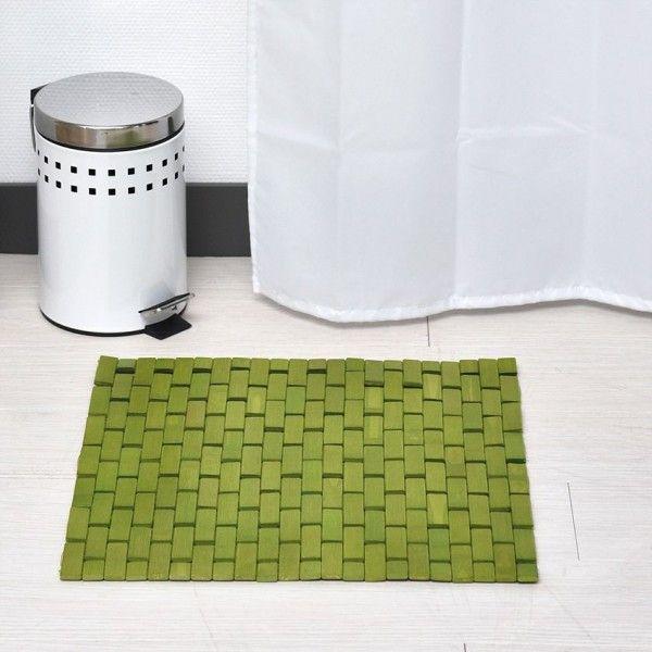 tapis de bain caillebotis bambou vert anis