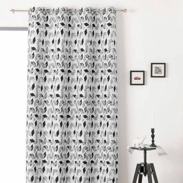rideau tamisant 135 x 240 cm kaleo noir et blanc
