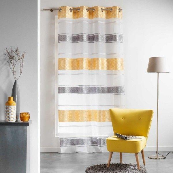 voilage 140 x 240 cm graphi jaune