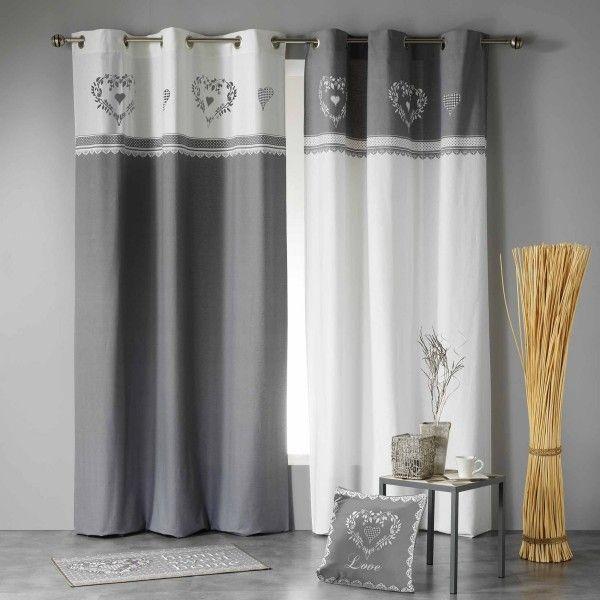 rideau tamisant 140 x h240 cm home love gris blanc