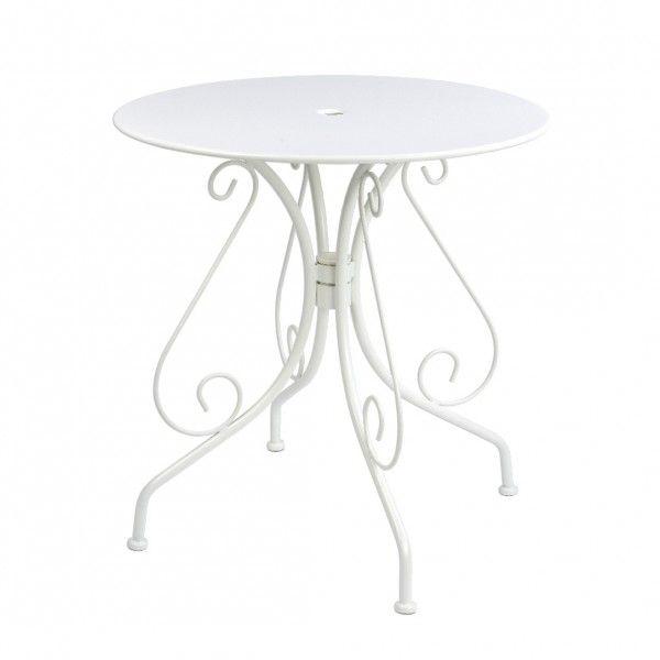 table de jardin ronde paris style fer forge blanc