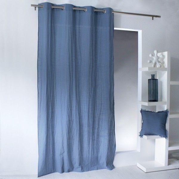voilage 140 x 240 cm tempo bleu gris