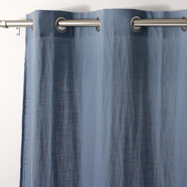 Voilage 140 x 240 cm Tempo Bleu gris  Rideau  Voilage  Store  Eminza