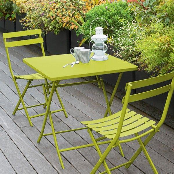 table de jardin pliante carree metal greensboro 70 x 70 cm vert anis