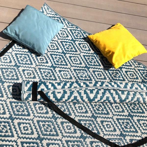 tapis d exterieur 160 x 260 cm aquatika bleu