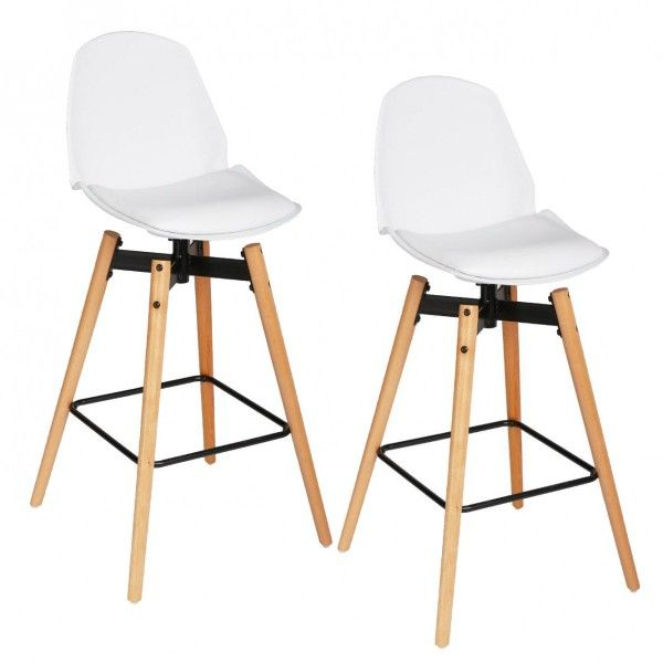 Lot De 2 Tabourets De Bar Wilio Blanc Tabouret De Bar