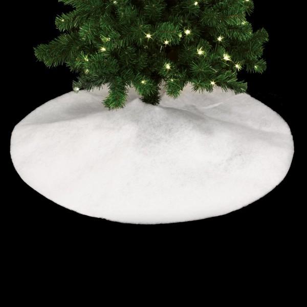 tapis de sapin rond neige paillettee