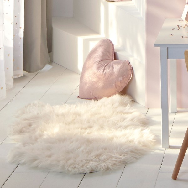 tapis fausse fourrure 90 cm fisher blanc