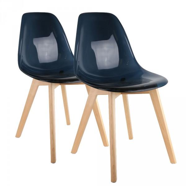 Lote de 2 sillas Mana Transparente Negro  Silla y