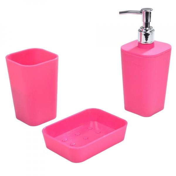 kit d accessoires de salle de bain soft touch rose fuschia